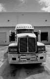 Semi truck cab black and white stock photo