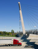 Semi Truck on Detroit freeway Royalty Free Stock Photography