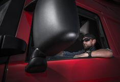 Semi Truck Driver Job Royalty Free Stock Photo