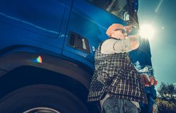 Semi Truck Driver Lunch stock photography