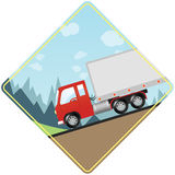 Semi Truck Driving Down Steep Hill Royalty Free Stock Photography