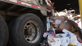 A Semi Truck Dropping Trash at the Recycling Center (2 of 7). Trash being delivered to be recycled stock video
