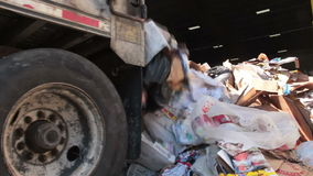 A Semi Truck Dropping Trash at the Recycling Center (4 of 7). Trash being delivered to be recycled stock video