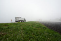 Semi Truck in Fog 2 stock photo