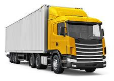 Semi-truck with 40 ft heavy cargo container. Shipping, logistics and freight delivery business commercial concept: 3D render illustration of the red semi-truck Stock Photos