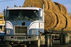 Semi truck with hay. Semi truck with load of hay Stock Photography