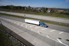 Semi Truck on the Highway. Tractor Trailer Truck (Wide View Royalty Free Stock Image
