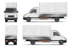 Semi truck isolated on white. Commercial cargo lorry. Delivery truck vector template from side, back, front View. vector illustration