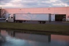 Semi Truck leaving the base Royalty Free Stock Photo