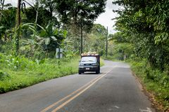 Semi truck moving on the road, Costa Rica Stock Photo