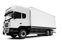 Semi truck over white. White semi truck on a white background Stock Photo