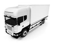Semi truck over white. White semi truck on a white background Stock Photography