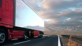Semi-trailer truck driving along a desert road. A semi truck passes the camera driving on a highway into the sunset, low angle front-view camera. Realistic high stock video