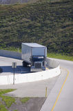 Semi Truck On Ramp. Semi Tractor Trailer Truck Stock Photo