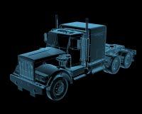 Semi truck. Semi-truck x-ray blue transparent isolated on black Royalty Free Stock Photos