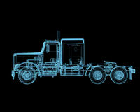 Semi truck. Truck x-ray blue transparent isolated on black Royalty Free Stock Images