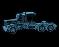Semi truck. Truck x-ray blue transparent isolated on black Stock Photography