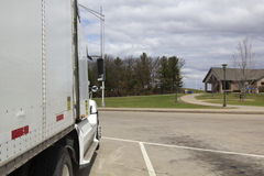 Semi Truck on the rest area Stock Image