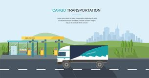 Semi-truck on the road and Gas filling station on city background. Web banner Vector Flat Illustration Royalty Free Stock Photo