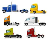 Free Semi Truck Set. Isolated Traction Unit Rig Stock Image - 190938781