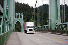 Semi truck on St Johns Bridge road Portland Royalty Free Stock Photo