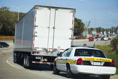 Semi Truck stopped by the State Police patrol Royalty Free Stock Photography