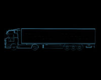 Semi truck with trailer (3D xray blue transparent). Semi truck with trailer (3D xray blue transparent isolated on black background stock illustration
