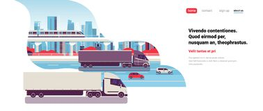Semi truck trailers driving highway road cars lorry over city background delivery cargo concept flat copy space. Horizontal vector illustration vector illustration