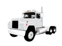 Semi Truck Vector. Vector of a grey diesel tractor trailer truck 18 wheeler on a white background Royalty Free Stock Photos