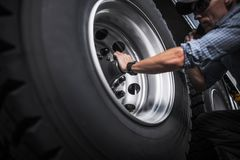 Semi Truck Wheels Check Stock Image