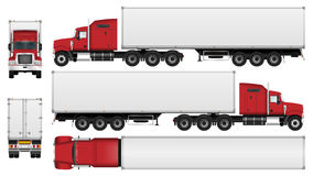 Semi truck  on white background. Big truck with trailer vector template. Semi truck  on white background. All elements in groups on separate layers. The ability Royalty Free Stock Photos
