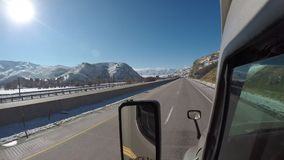 Semi-Truck Windshield - Highway Driving Time Lapse. Semi-Truck Windshield - Rural America Highway Driving during winter months stock video