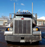 Semi Truck in Winter. Front view of a semi truck on a street in winter time stock photos