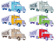 Semi trucks. Illustrations of semi trucks with moving, trucking, freight, delivery, hauling and transport signs Stock Photos