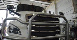 Semi Trucks on the service. repair Closeup. Transportation and Logistics. move camera