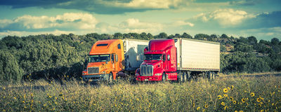 Semi-trucks on the road, september 25, 2012. USA. Royalty Free Stock Photo