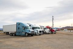 Semi Trucks at road side truck stop stock images