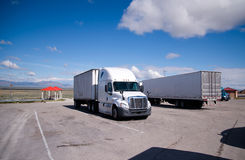 Semi trucks standing in the parking lot of rest area Nevada Stock Images