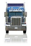 Semi Vrachtwagen die op een Witte Achtergrond wordt geïsoleerde Royalty-vrije Stock Afbeeldingen