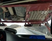Semi vrachtwagenmening royalty-vrije stock fotografie