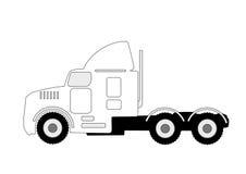 Semi vrachtwagensilhouet Stock Fotografie