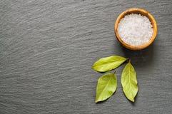 Semi wysuszeni podpalanego bobka liście i sól na czerń łupku kamieniu z kopii przestrzenią dla teksta jako szablonu jedzenia tło  Fotografia Stock