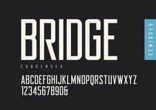 Semibold condensado de sans serif retro Tipografías del vector, mayúsculas stock de ilustración