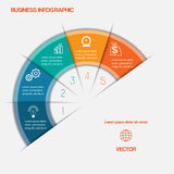 Semicírculo de Infographic com áreas de texto em cinco posições Foto de Stock