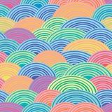 Semicírculos multicolores Línea espiral Fondo alegre festivo Modelo inconsútil del vector Imagen de archivo