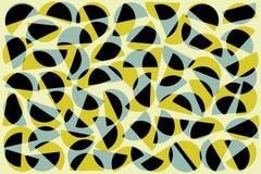 Semic?rculos al azar azules negros de color caqui en el fondo blanco Modelo geom?trico abstracto de las formas en el estilo retro ilustración del vector