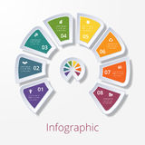 Semicircle diagram with eight multicolored elements Royalty Free Stock Photography