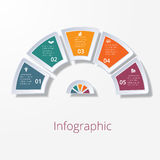 Semicircle diagram with five multicolored elements Stock Photography