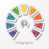 Semicircle diagram with nine multicolored elements Stock Photos