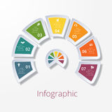 Semicircle diagram with seven multicolored elements Stock Photos